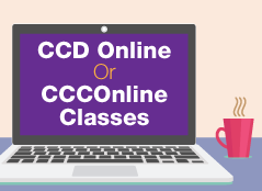 "computer screen with text ""CCD Online or CCCOnline Classes"""