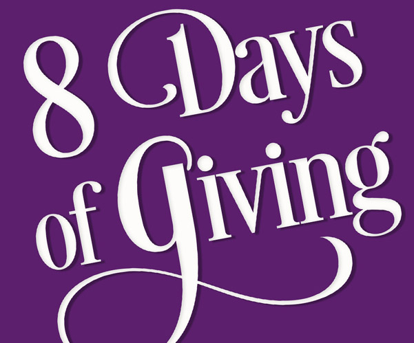 8 days of giving in white text over purple background