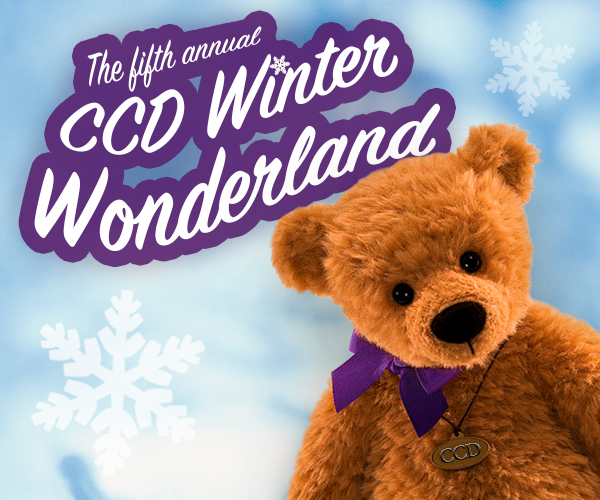 "Teddy bear with text ""the fifth annual ccd winter wonderland"""