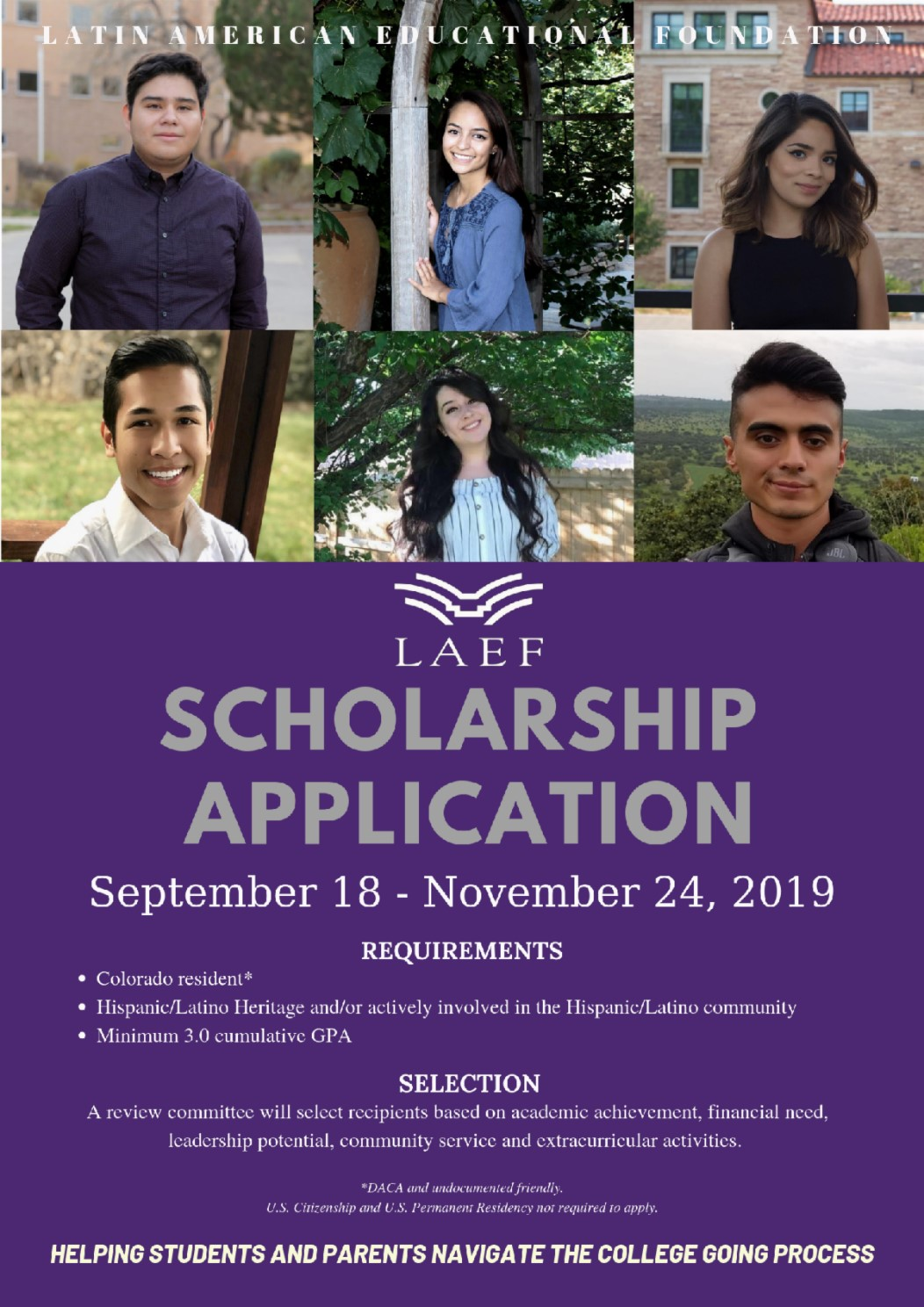 LAEF scholarship application with six students purple background