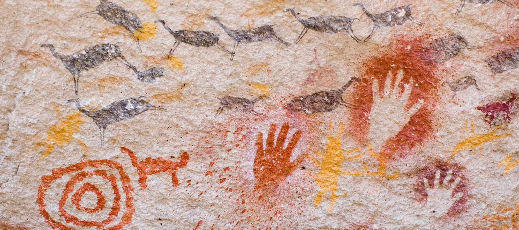 cave walls with drawings of handprints and animals