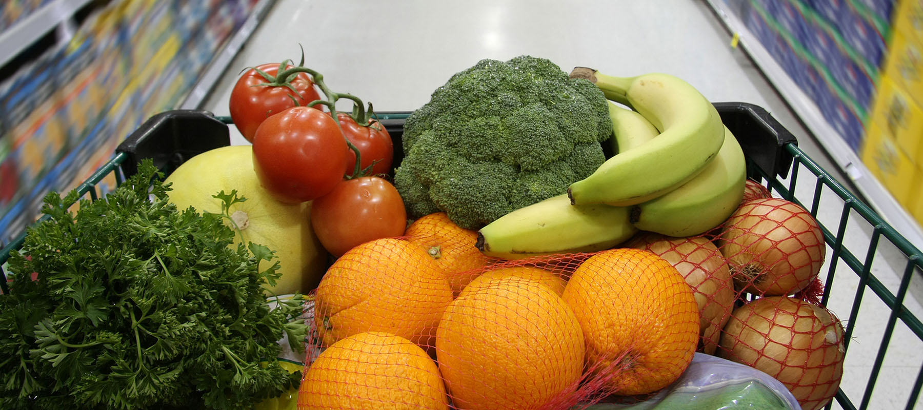 nutritious food, including organges, broccoli, bananas and more