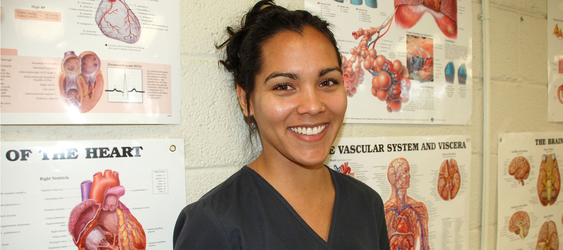 female in blue scrubs in front of anatomy posters