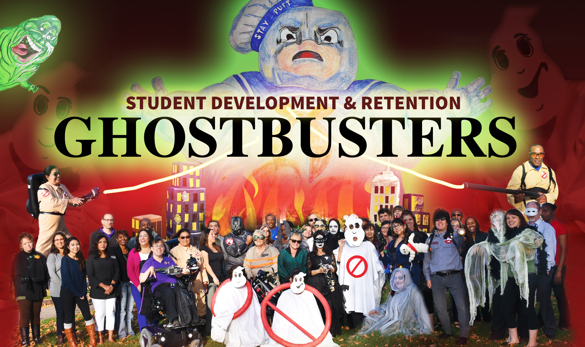 ghostbusters themed with group employees in costumes