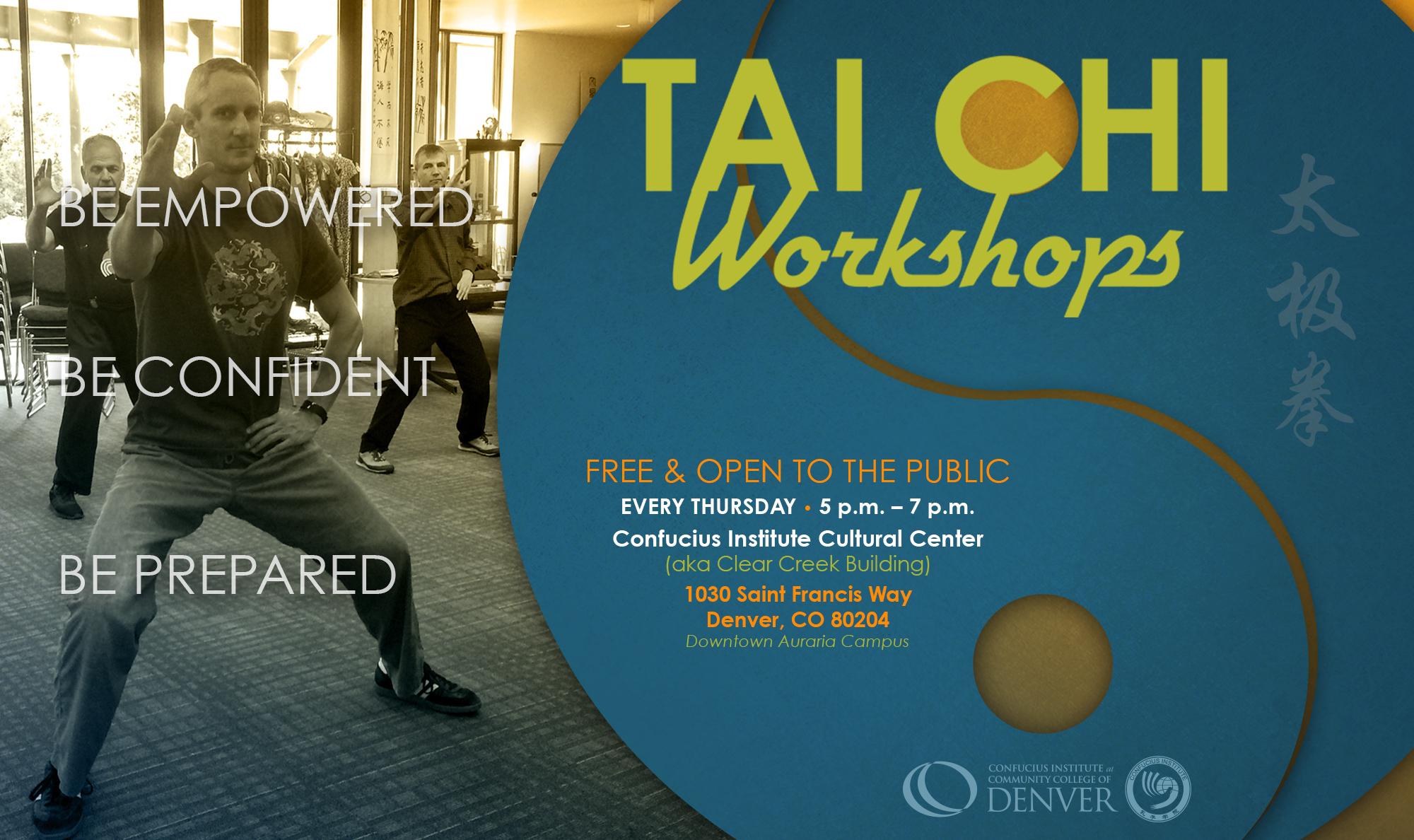 man doing Tai Chi, workshop poster