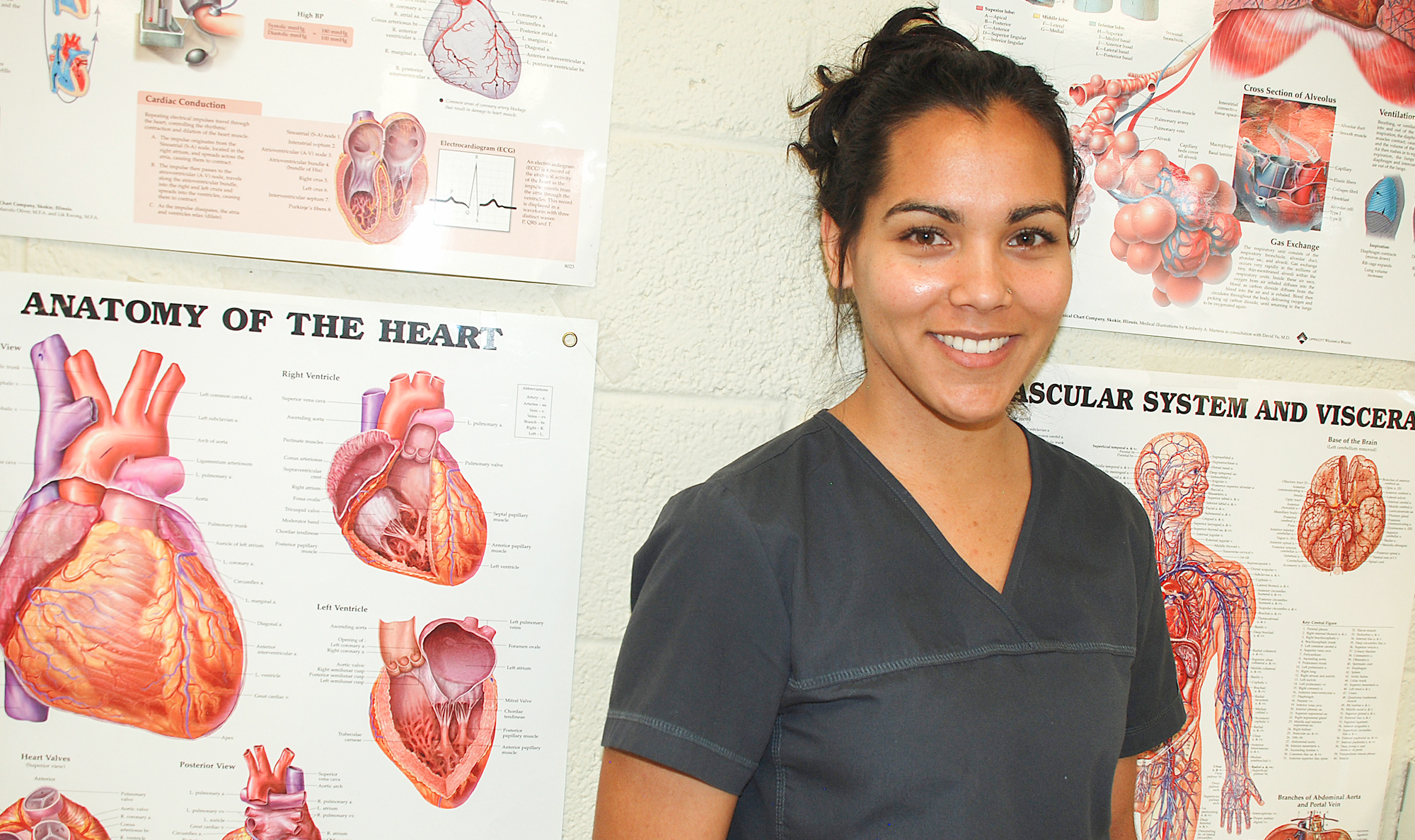 nursing student in front of human anatomy posters