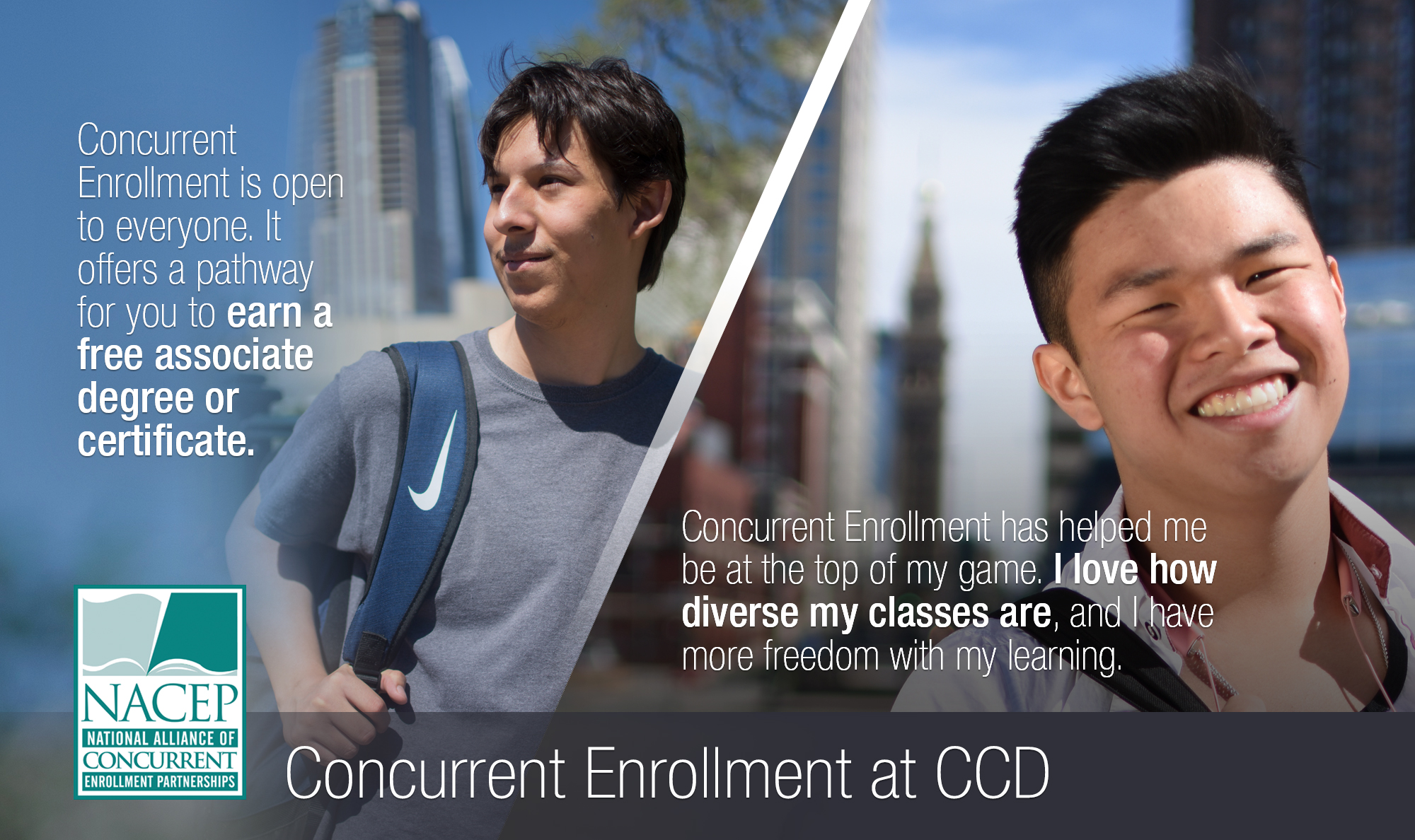 two high school students with quotes on their concurrent enrollment experience