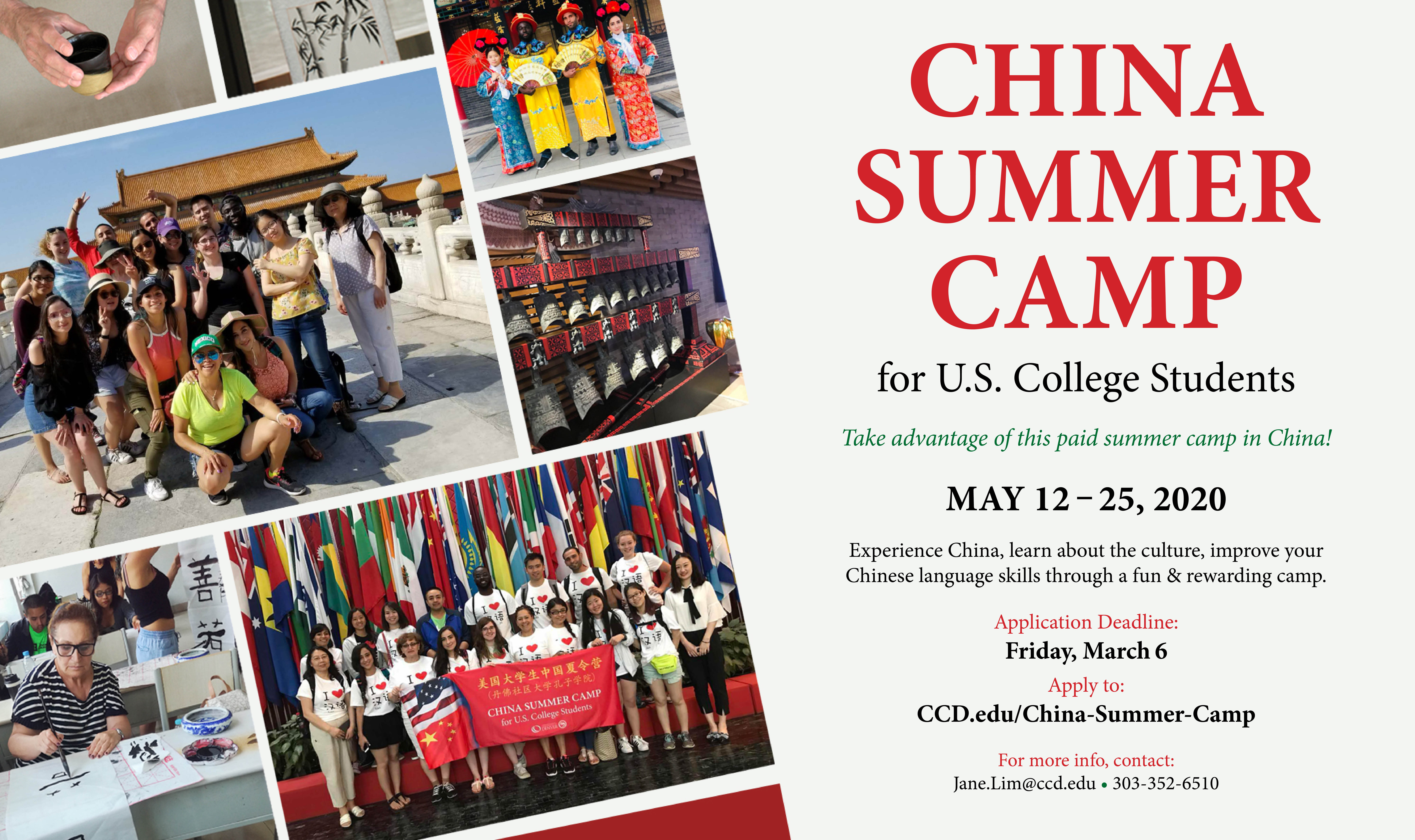 Information about China Summer Camp can be found in Confcius Institute website