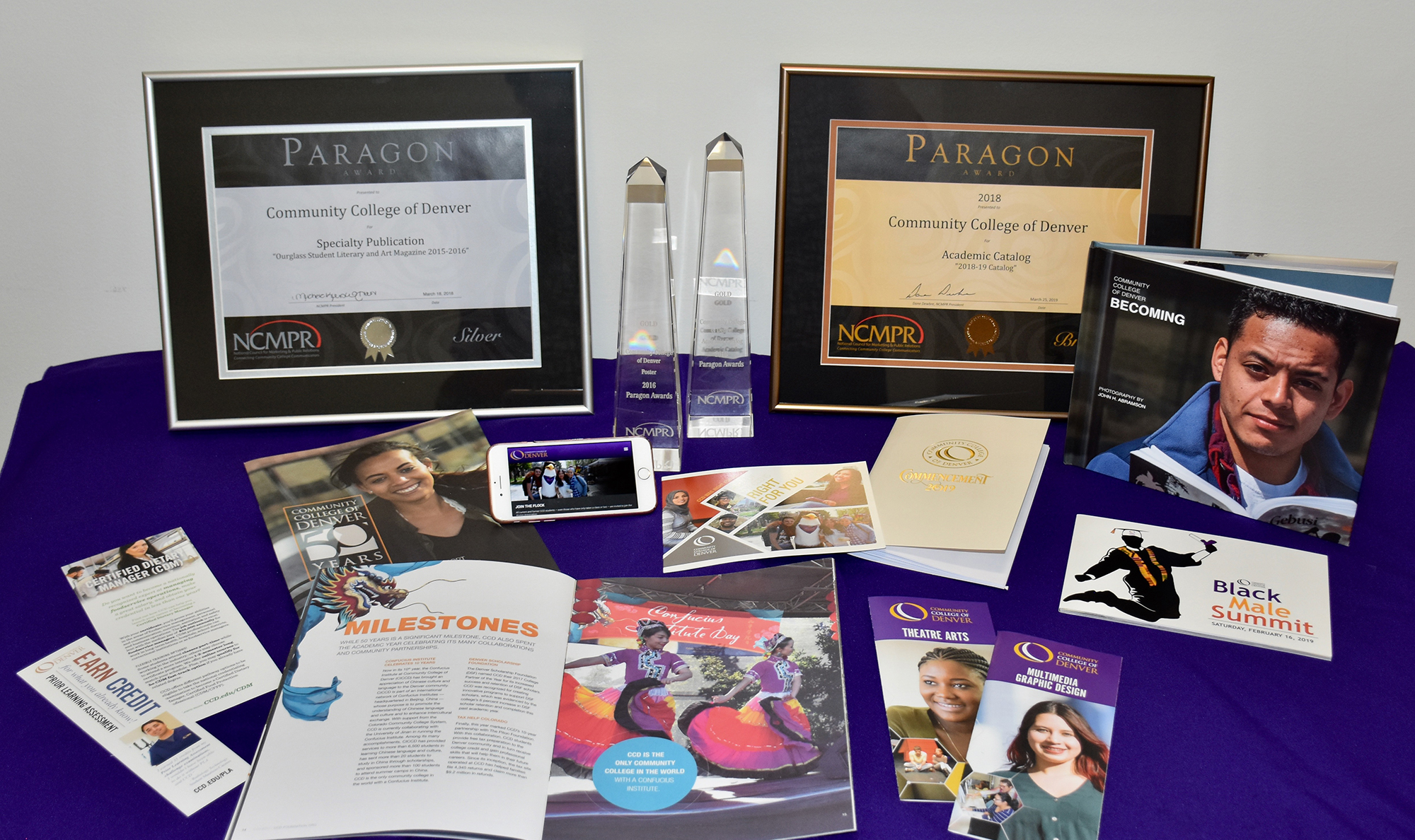 grouping of awards, publicaitons and website