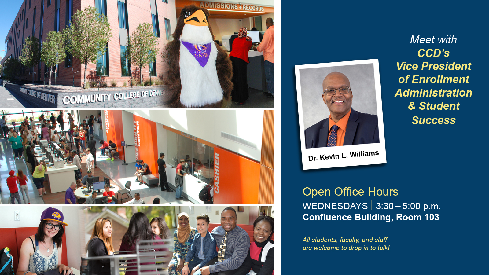 images of students on campus and text with office hours