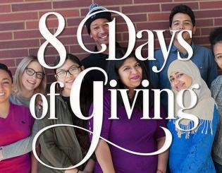 "group of people gathered with text ""8 days of giving"""