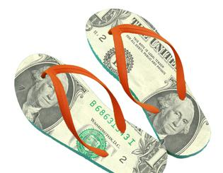 two flip flop sandals with image of dollar bill