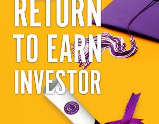 Return to Earn Investor graphic with diploma and mortarboard
