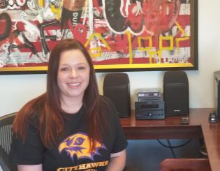 girl in CCD CityHawk t-shirt
