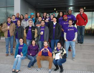 Group of Students Standing in front of CCD's Confluence Building