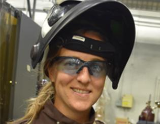 headshot of female welder