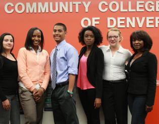 image of a group of students in front of CCD sign