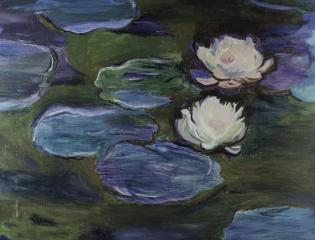 artist's painting of lily pads and water