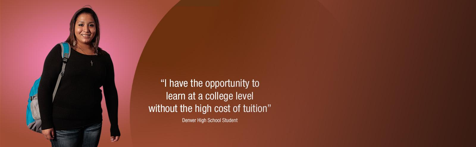 denver high school student with quote on saving money on tuition