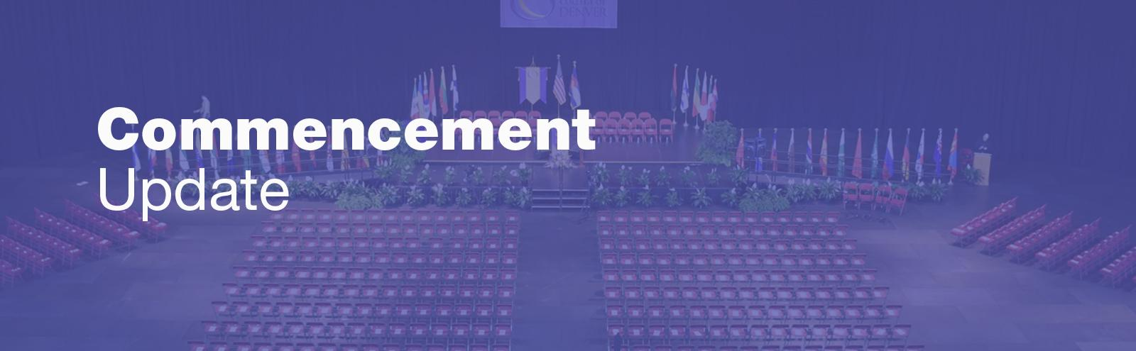 empty commencement stage and seating