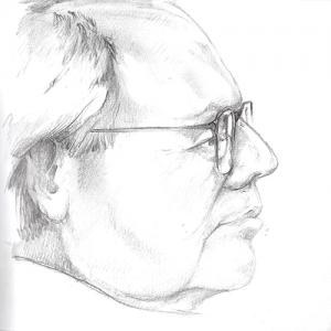 hand drawn sketch of man's profile