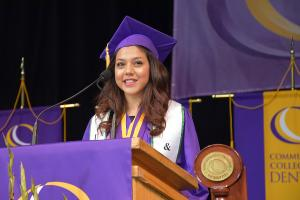 CCD honor student giving a speech during Commencement