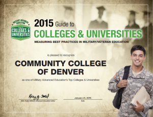 graphic of service man in uniform with information about MAE's top college list