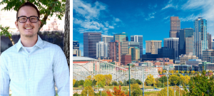 picture of man in glasses next to a city view of Denver