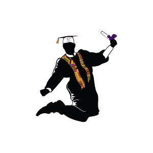 a person wearing graduate regalia jumping for joy