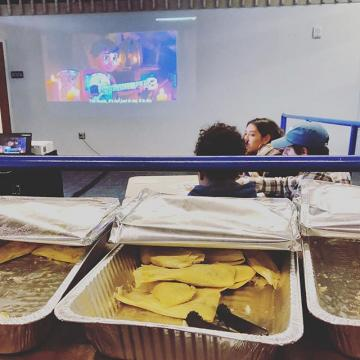 Feliz Día de los Muertos!  We are showing Coco from 12pm-3pm today, November 1st in the Tivoli Garage Lounge.  Stop by and help us celebrate the day with tamales and coloring!