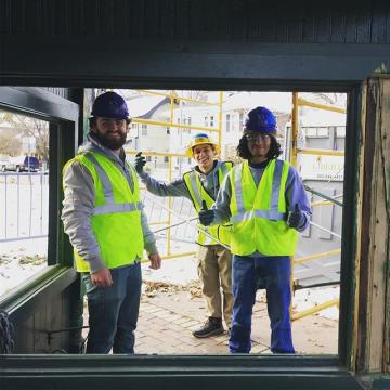 CCD architecture & building crafts students continue restoring a historic trolley stop In Denver! #WeBuild #historicpreservation