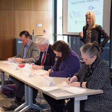 It may look these Auraria Provosts are taking a test but ACTUALLY they just signed an articulation agreement for an engineering transfer path. These transfer plans start with college algebra, helping students start early toward Civil, Electrical, & M