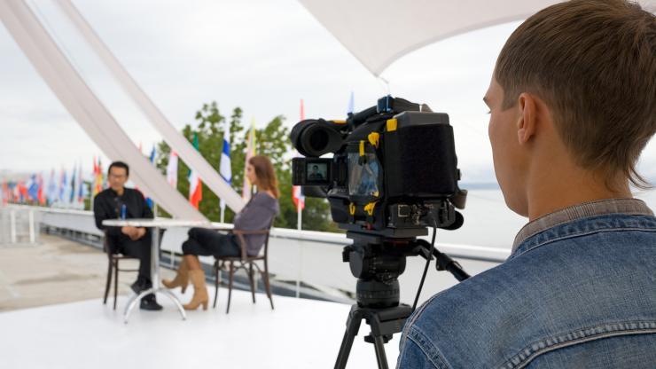 Interveiw being captured on camera