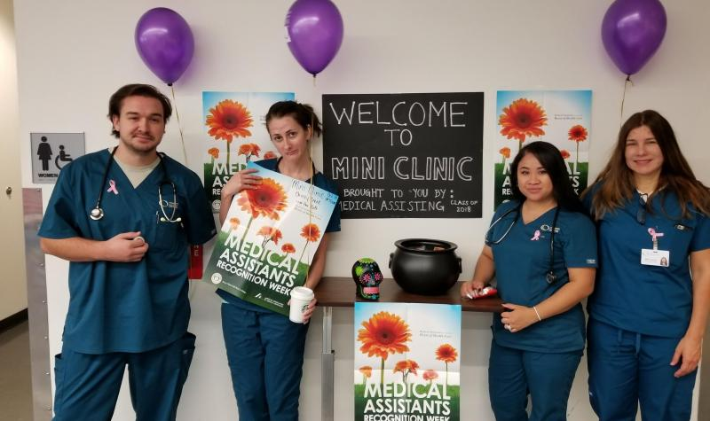 Medical Assistant students at the mini clinic event