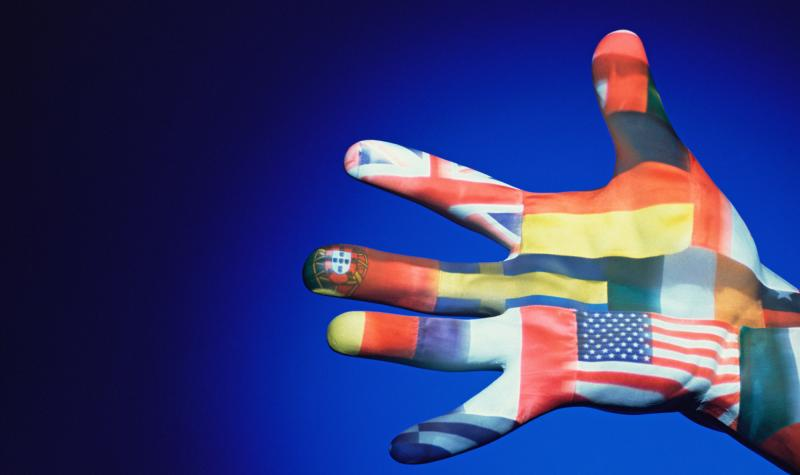 Human hand with various flags painted on it