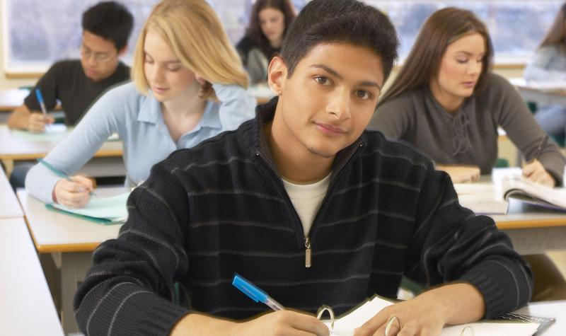 A Young Student Taking Test