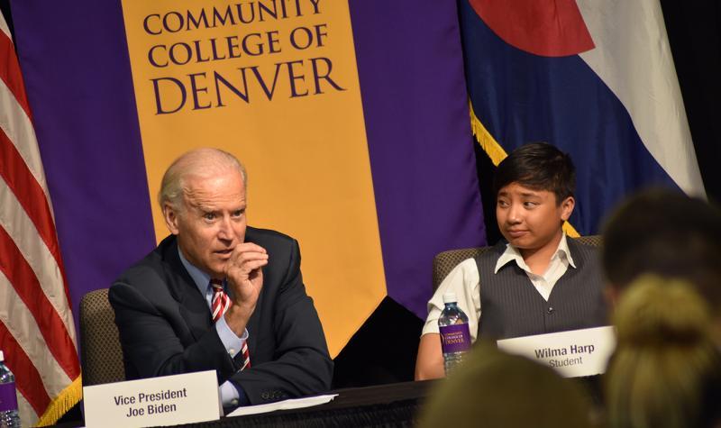 Vice President Joe Biden and CCD Student Wilma Harp