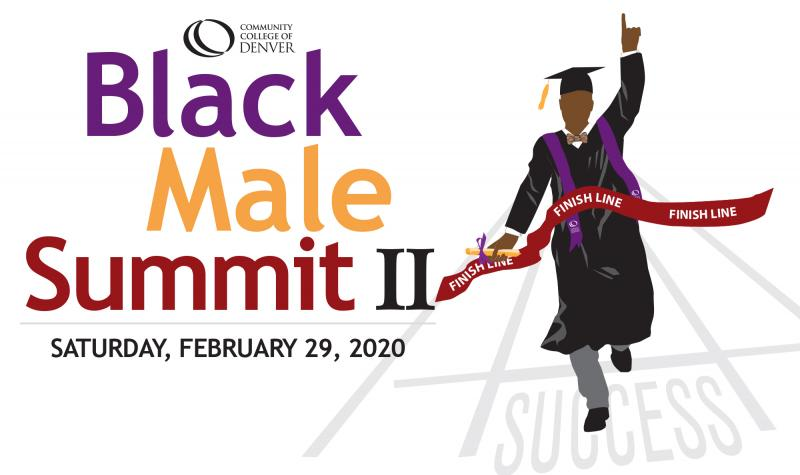 Black Male Summit II, illustration of graduate crossing the finish line