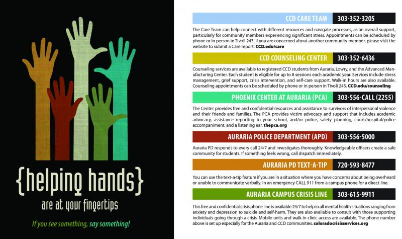 helping hands poster with helpful phone numbers