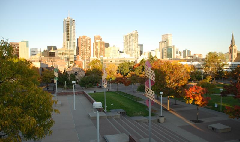 Auraria campus with downtown Denver in the background