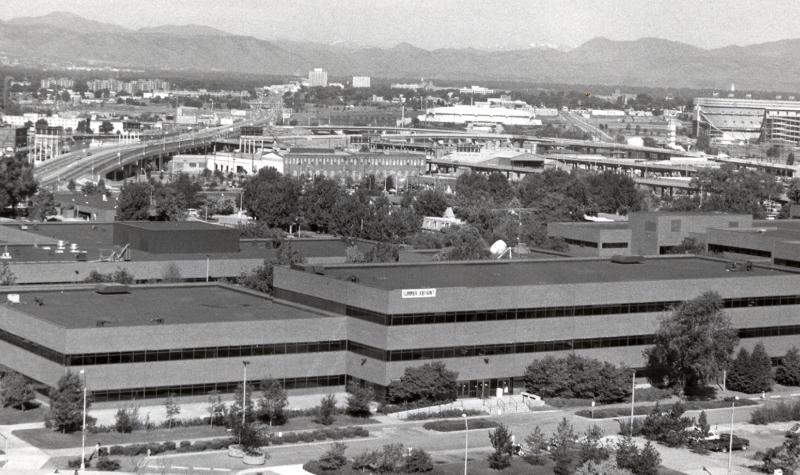 Aerial view of Cherry Creek Building and campus from across Speer taken in 1993