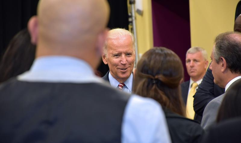VP Joe Biden speaks in a crowd of students