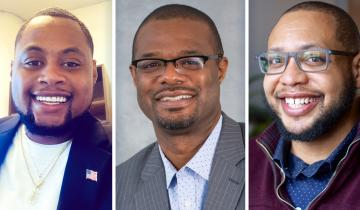 3 black males side by side smiling