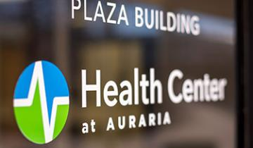 """health center at auraria"" sticker on window"