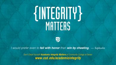 "aqua poster with text ""Integrity Matters"""