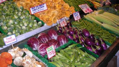 Vegetable market stall at Seattle's Pike Place market