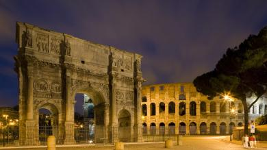 image of Roman ruins at night
