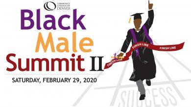 Black Male Summit II, illustration of graduate crossing the finish line