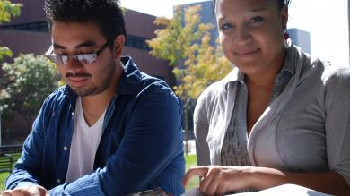 CCD students studying outside on the Auraria Campus