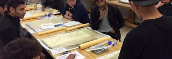 students at a drafting table